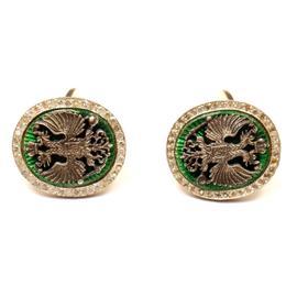 14K Yellow Gold Russian Double Headed Eagle Enamel Diamond Cufflinks