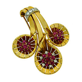 Cartier Ruby Diamond 18K Yellow Gold Clip Pin Brooch