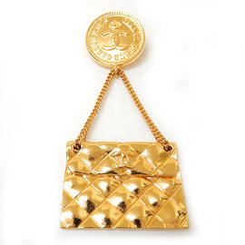 Chanel Gold Plated Metal CC Logo Bag Motif Brooch