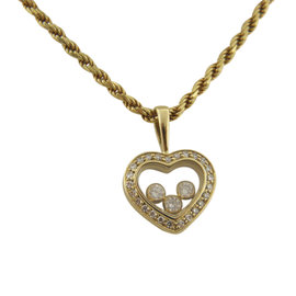 Chopard Happy 18K Yellow Gold with Diamonds Heart Pendant Necklace