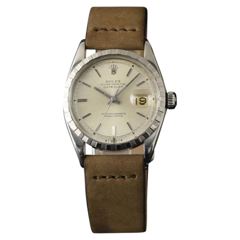 """Image of """"Rolex Datejust 6605 Stainless Steel Roulette Vintage Mens Watch 36mm"""""""