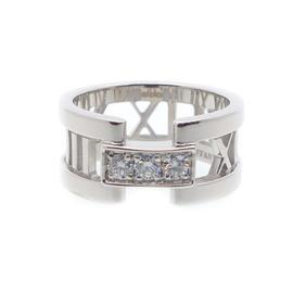 Tiffany & Co. Atlas 18K White Gold 3P Diamond Size: 4.5 Open Ring