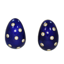 Cartier 18K Yellow Gold 0.70ct. Diamonds and Blue Enamel Earrings