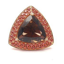 Mauboussin 18k Rose Gold Topaz, Amethyst and Citrine Triangle Ring