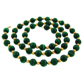 Van Cleef & Arpels 18K Yellow Gold Malachite Bead Necklace