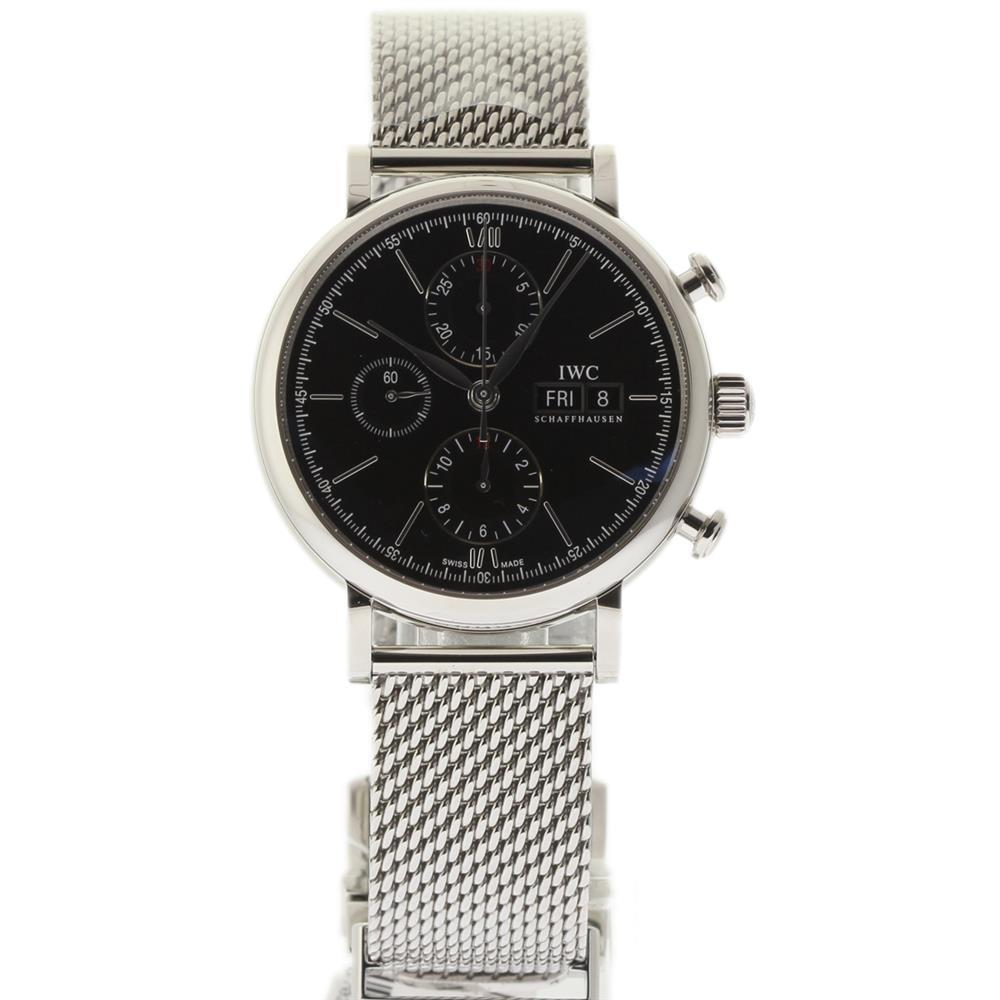 "Image of ""IWC Portofino Iw391010 Chronograph Stainless Steel Black 42mm Watch"""