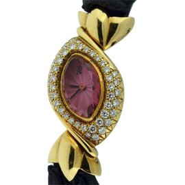 Audemars Piguet Classique 18K Yellow Gold Pink Sapphire and Diamonds 17mm x 23mm Womens Watch