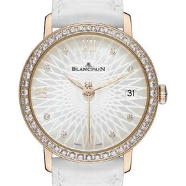 Blancpain Villeret 6604-2944-55A 18K Rose Gold Diamond Dial 34mm Womens Watch