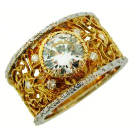 Mario Buccellati 18K Yellow and White Gold 1.52 Ct Diamond 1960s Lacy Band Ring Size 8