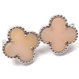 Van Cleef & Arpels 18K White Gold Alhambra Pink Opal Earrings