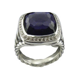 David Yurman 925 Sterling Silver Albion Amethyst and Diamonds Ring Size 7