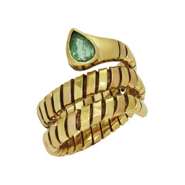 Bulgari 18K Yellow Rose Gold Tubogas Emerald Ring Size 7