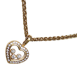 Chopard Happy Diamonds 18K Yellow Gold 0.27 Ct Diamond Heart Pendant Necklace