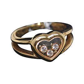Chopard Happy Diamonds 18K Yellow Gold 0.17 Ct Floating Diamonds Heart Ring Size 6.5