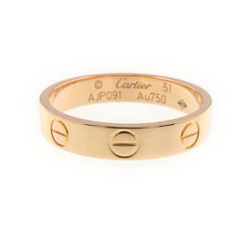 Cartier Mini Love 750 Rose Gold Ring Size 6