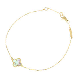 Van Cleef & Arpels 18K Yellow Gold Alhambra Mother of Pearl Bracelet