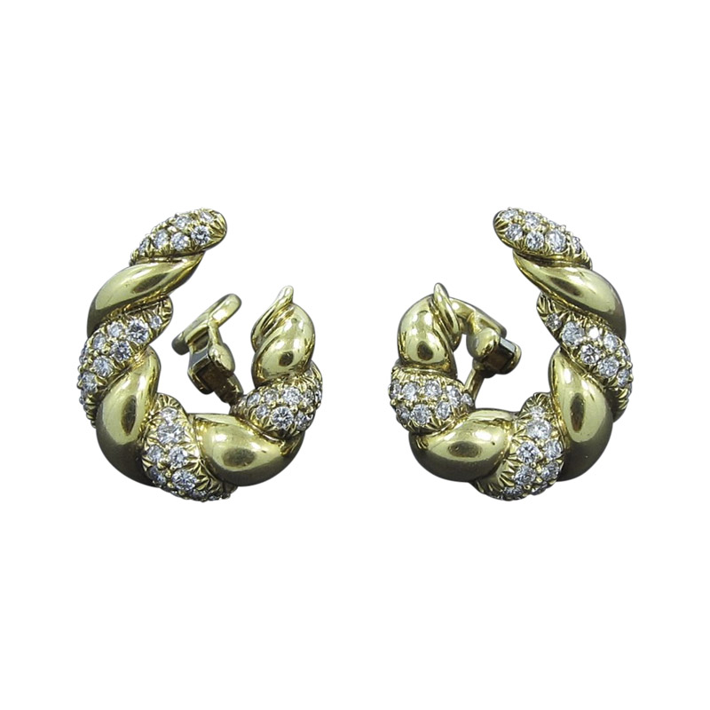 "Image of ""Kurt Wayne 18K Yellow Gold And Diamond Earrings"""