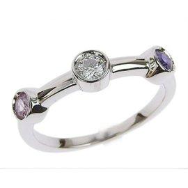 Chanel 18k White Gold Diamond Sapphire Amethyst Ring Size 4.5