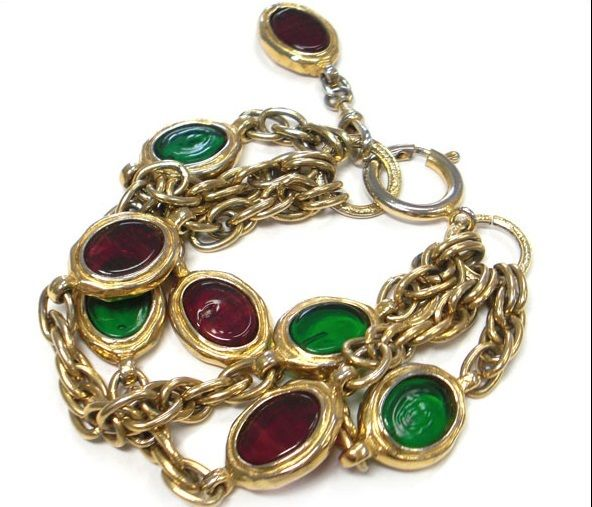 "Image of ""Chanel Gold Tone Metal Red Green Glass Stone Chain Bracelet"""