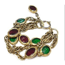 Chanel Gold Tone Metal Red Green Glass Stone Chain Bracelet