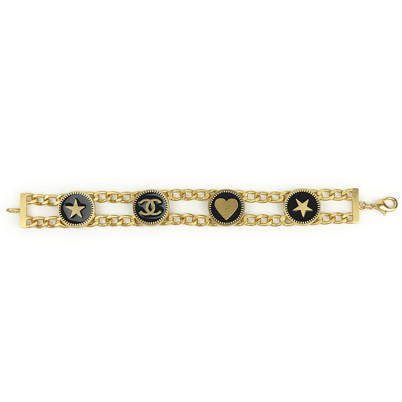 "Image of ""Chanel Gold Tone Metal Black Icon CC Heart Star Chain Bracelet"""