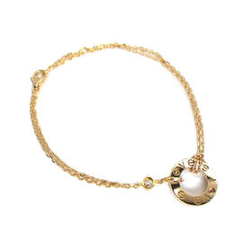 Cartier 750 Rose Gold Diamond Pink Sapphire Bracelet Size 7.08