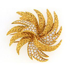 Cartier 1980's 18K Yellow Gold 2.23 Ct Diamond Pin Brooch