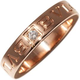 Bulgari 750 Rose Gold Diamond Double Logo Ring Size 4.5