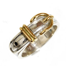Hermes 18k Yellow Gold and 925 Sterling Silver Ring Size 5