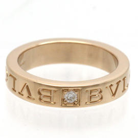 Bulagri 750 Rose Gold 1P Diamond Double Logo Ring Size 5.0