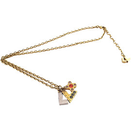 Louis Vuitton Brass Metal Swarovski Pendant Necklace