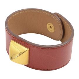 Hermes Gold Tone Metal & Leather Calf Bracelet