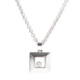 Chopard Happy Diamond 18k White Gold Square Necklace