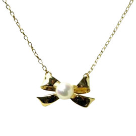 Mikimoto 18k Yellow Gold Ribbon Baby Pearl Necklace