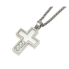 Chopard 18k White Gold Happy Diamond Cross Pendant Necklace