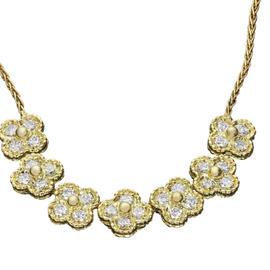 Van Cleef & Arpels 18K Yellow Gold Arno Alhambra Diamond Necklace