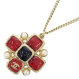 Chanel CC Gold Tone Metal Faux Pearl Color Stone Motif Red Blue Necklace