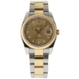 Rolex Datejust 116233 Steel Yellow Gold Champagne 36mm Mens Watch 2009