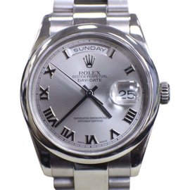 Rolex Day Date President 118209 White Gold Oyster Band Roman Dial 36mm Mens Watch
