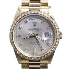 Rolex President Day Date 18348 18K Yellow Gold Diamond Dial & Diamond Bezel 36mm Mens Watch