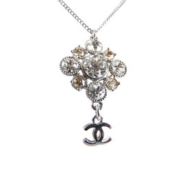 Chanel CC Logo Silver Tone Metal Flower Rhinestone Pendant Necklace