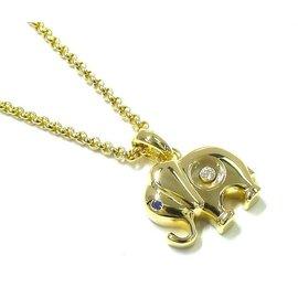 Chopard 750 Yellow Gold Happy Sapphire & Diamond Elephant Pendant Necklace