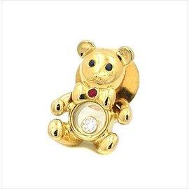 Chopard 750 Yellow Gold Sapphire Ruby Happy Diamond Bear Brooch