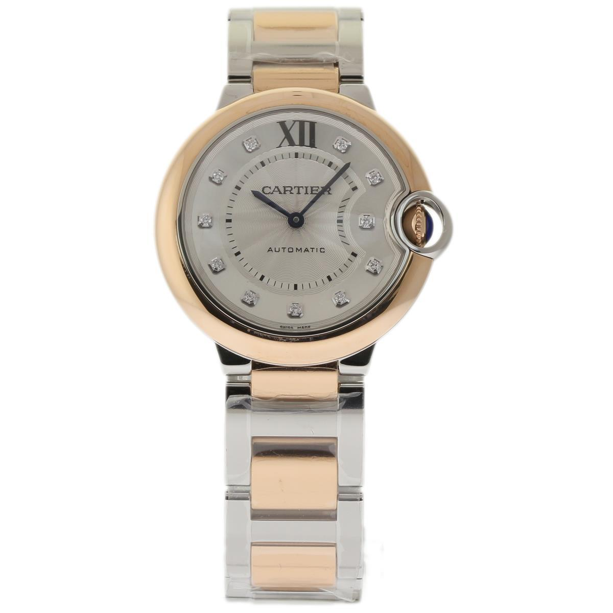 Cartier Ballon Bleu W3Bb0007 Stainless Steel & 18K Pink Gold Silver