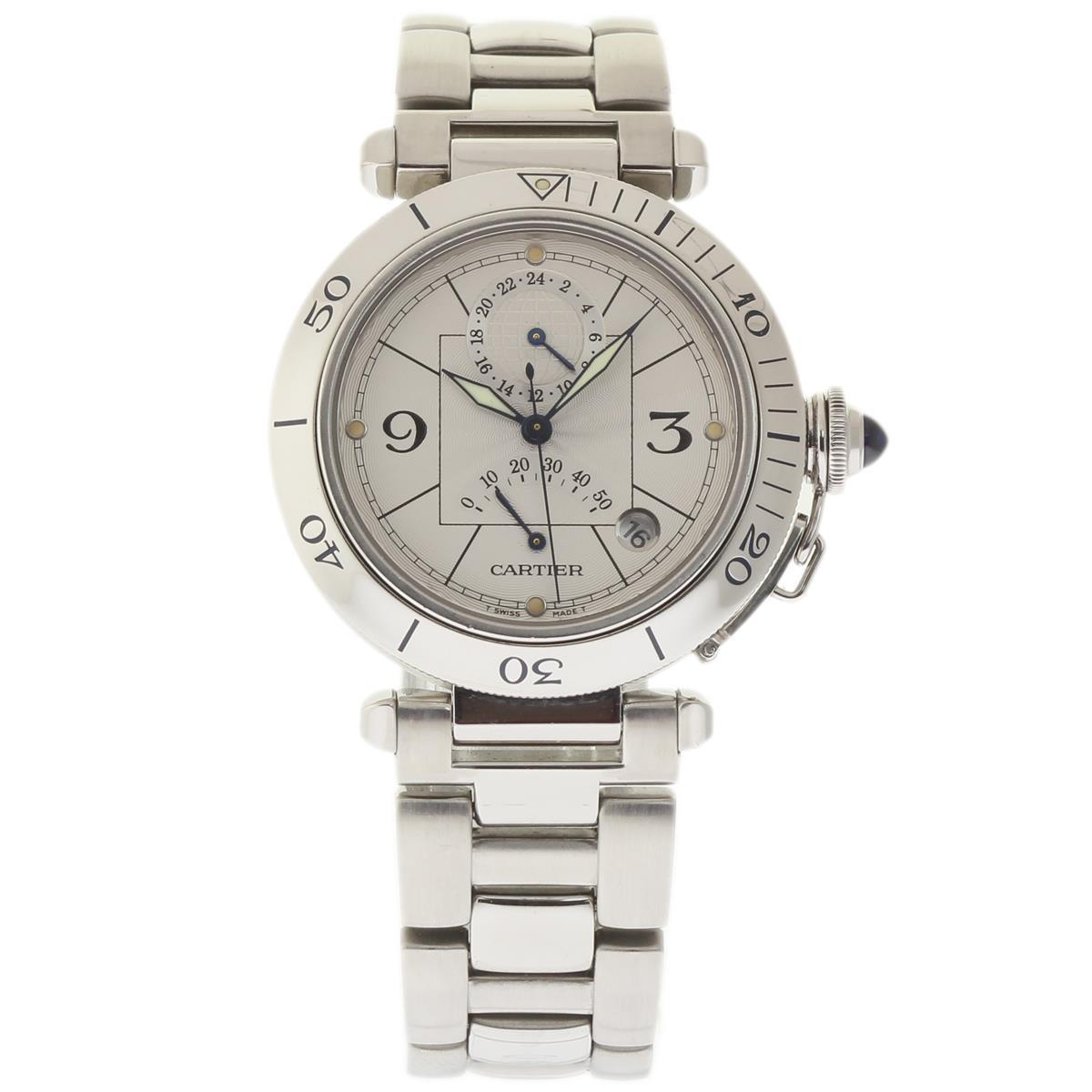 """Image of """"Cartier Pasha W31037H3 Stainless Steel Silver Dial Automatic 38mm Mens"""""""