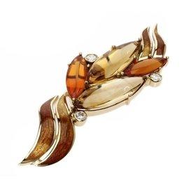 Mikimoto 750 Yellow Gold Opal Diamond Cloisonne Pin Brooch