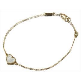 Van Cleef & Arpels 18k Yellow Gold Alhambra Mother of Pearl Heart Bracelet