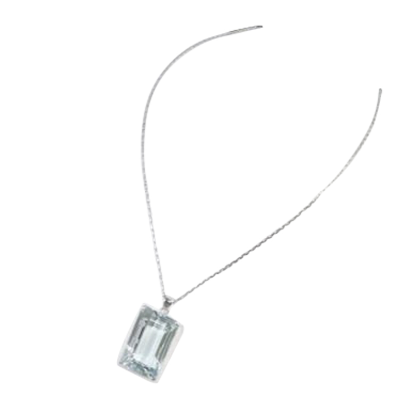 "Image of ""Mikimoto 14k White Gold Blue Topaz Pendant Necklace"""