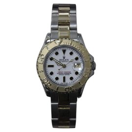 Rolex Yacht Master 69623 18K Yellow Gold & Stainless Steel White Dial 29mm Womens Watch