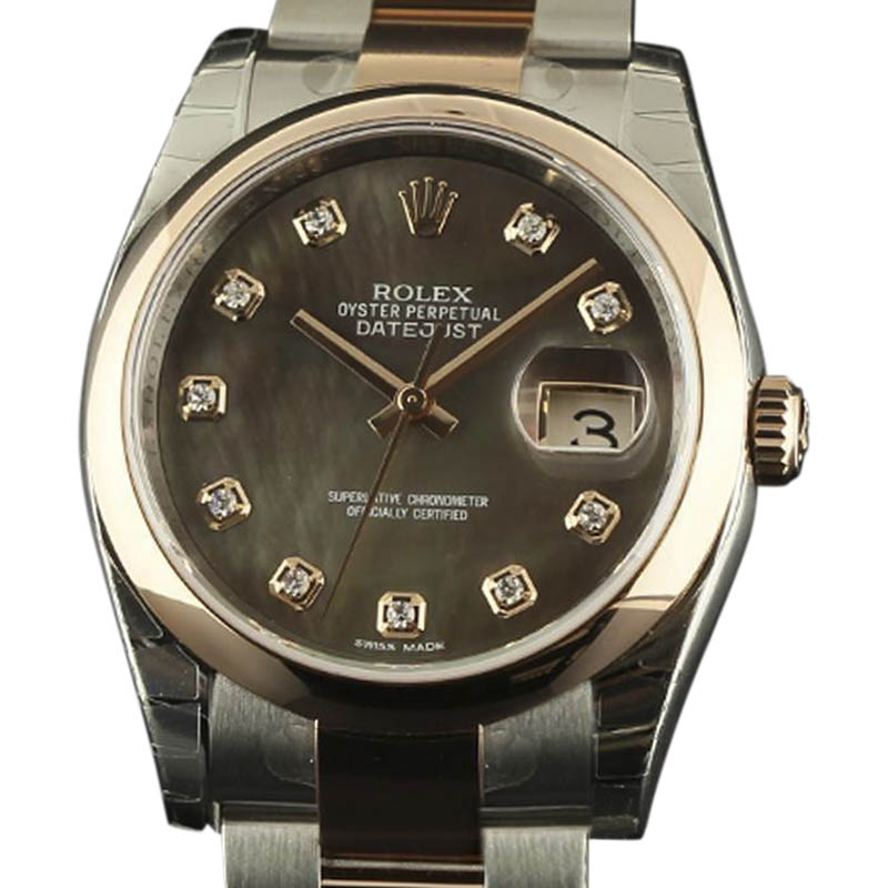 "Image of ""Rolex Datejust 116201 Stainless Steel & 18K Pink Gold Tahitian Dark"""